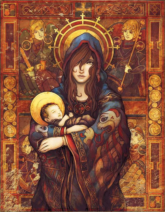 Мария или Бригитта с младенцем-Иисусом, иллюстрация Паркера Фицджеральда и Бриттани Ричардсон