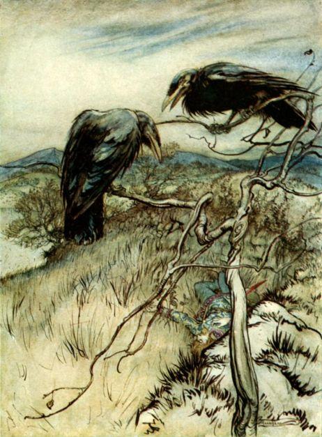 """Артур Рэкем, """"Два ворона"""". Иллюстрация к сборнику """"Избранные британские баллады"""", 1919"""