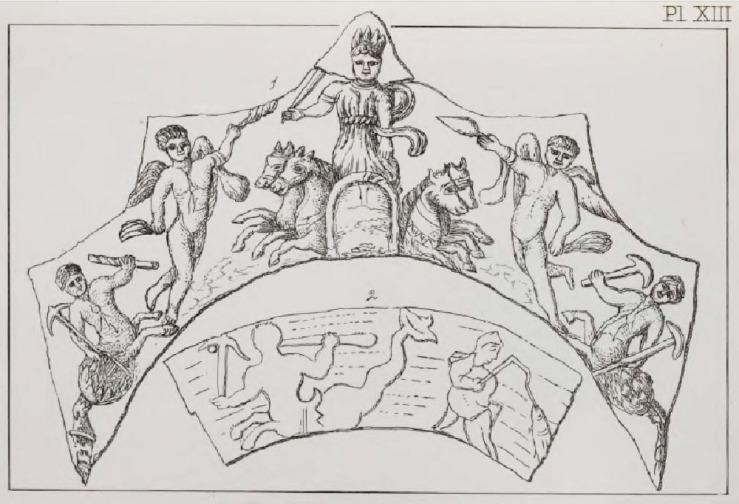Рисунок с изображения на стенном венце, найденном при раскопках в Лидни