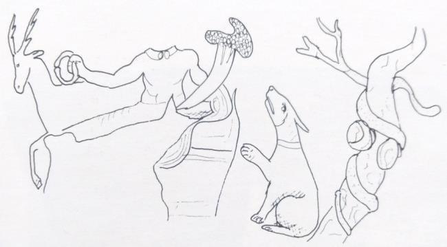 Реконструкция сцены с Кернунном, изображенной на чаше из Лиона